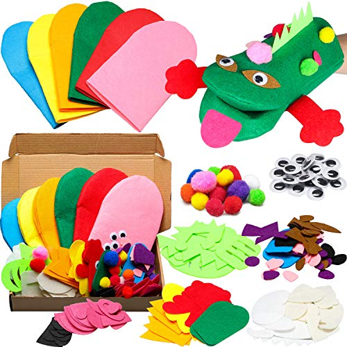 WATINC 6Pcs Animal Hand Puppet Making Kit for Kids Toddlers DIY Art Craft Felt Party Supplies Children Role Play Toys Puppets Show Include Colorful Hand Puppets, Pom poms, Googly Eyes, DIY Felt Decors
