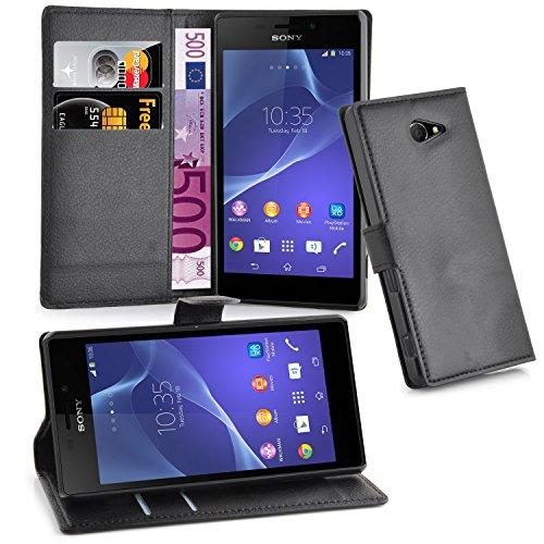 Cadorabo Hülle für Sony Xperia M2 Aqua in Phantom SCHWARZ - Handyhülle mit Magnetverschluss, Standfunktion & Kartenfach - Hülle Cover Schutzhülle Etui Tasche Book Klapp Style