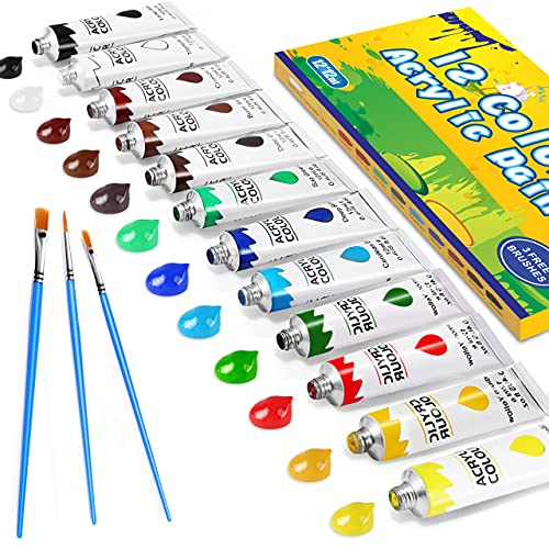Gifort Acrylfarben Set mit 3 Pinsel, 12 Farb-Pigmenten je 12 ml, Acrylfarben auf Wasserbasis für Steine, Holz, Papier und Leinwand, Acryl Farben Set für Kinder, Erwachsene, Bastler, Profis