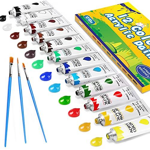 Gifort Acrylfarben Set mit 3 Pinsel, 12 Farb-Pigmenten je 12 ml, Acrylfarben auf Wasserbasis für Steine, Holz, Papier und Leinwand, Acryl Farben Set für Kinder, Erwachsene,...
