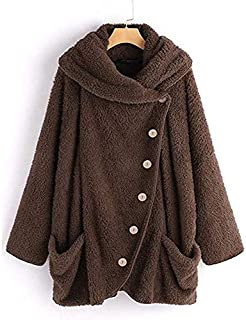 YDYG Women's Thickened Soft Plush Button Top, Fleece Single-Breasted Jacket