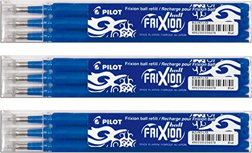 PILOT FRIXION Lot de 3 sets de 3 recharges bleues en 0,7mm