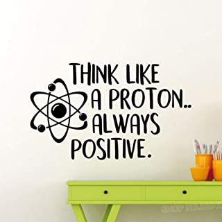 GTLLMM Wall Decal Think Like A Proton Always Positive Science Inspirational Quote Vinyl 74 x 123 cm Wall Decals Removable DIY Art Decor Wall Stickers Murals Baby Nursery Room Kids Bedroom