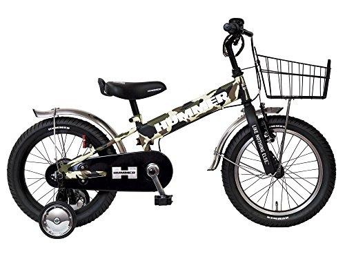 HUMMER(ハマー) KID'S16 TANK3.0-SE カモフラージュグリーン 16インチ 子供自転車 安定の良い極太タイヤ装着(16×3.0インチ) ステンレスフェンダー/ワイヤーバスケット標準装備 フルカバーチェーンケース 迫力満点キッズバイク 13377-6999