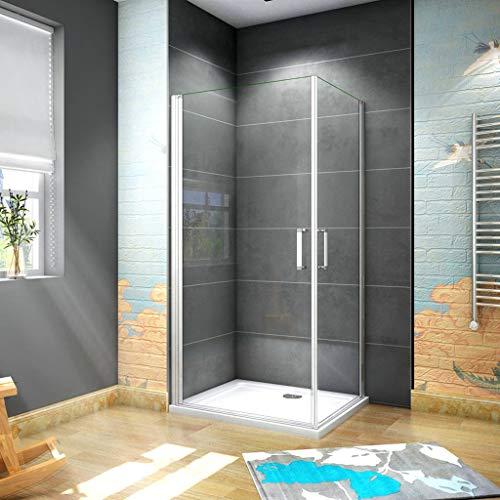 185 cm Box doccia Angolare Doppia Porta Battente Cristallo Temperato 5 mm Trasparente Profilo in Alluminio Processo di Elettroforesi 100x70 cm