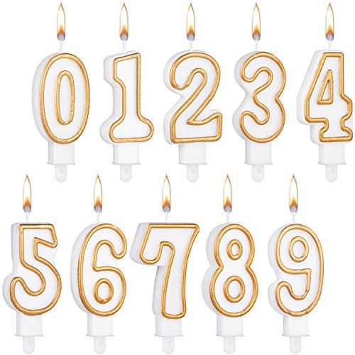 10 Piezas Velas de Números de Tarta Velas de Cumpleaños Velas de Números 0-6 Velas Blancas con Bordes Dorados Topper de Tarta Adornos para Fiesta de Boda Cumpleaños