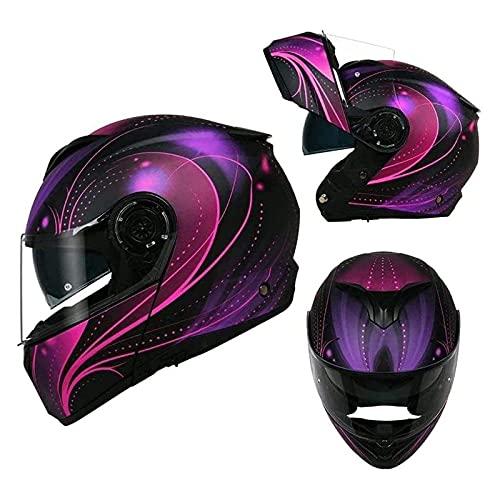 Casco moto integrale flip casco da corsa casco moto da crociera certificato ECE casco unisex machete scooter ciclomotore adulto,Viola,XXL