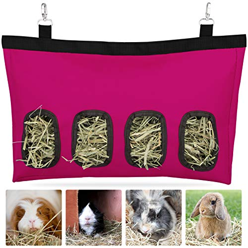 Geegoods Rabbit Hay Feeder Bag, Guinea Pig Hay Feeder Storage ,Hanging Feeding Hay for Small Animals Large Size 600D Oxford Cloth Fabric