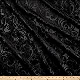 Unique Quality Fabrics Embossed Velvet Scroll Black, Fabric by the Yard