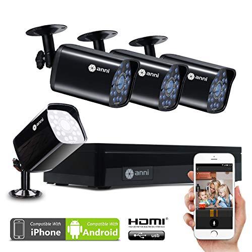 Anni CCTV 1.0 MP Kit de videovigilancia, 4CH 1080N HD AHD DVR 4x720p 1500TVL Cámara de Vigilancia, con visión Nocturna, detección de Movimiento, Smartphone, PC fácil Acceso Remoto, sin HDD