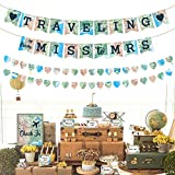 Traveling From Miss to Mrs Banner Heart Shape Garland Bar Sign Food Tent Cards Bridal Shower Decorations Kit for Travel Themed Bridal Shower Bachelorette Engagement and Wedding Party Supplies