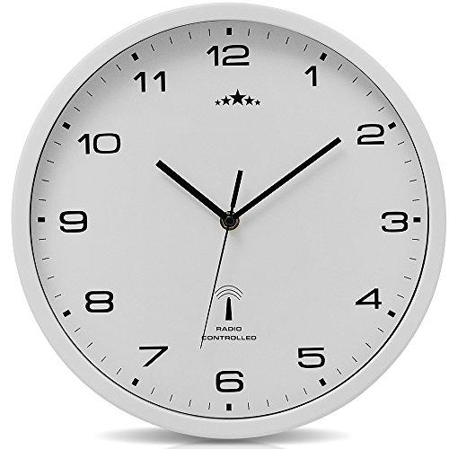 Monzana Wanduhr Funk Ø 31 cm Groß Weiß Automatische Zeitumstellung Geräuscharm Modern - Funkuhr Funkwanduhr Uhr