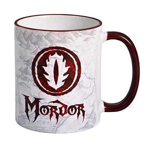 Taza Señor de los Anillos Mordor 320ml Bosque Elfo Cerámica Blanco Rojo