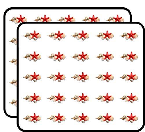Seashells Sea Star Collection Sticker for Scrapbooking, Calendars, Arts, Kids DIY Crafts, Album, Bullet Journals 50 Pack