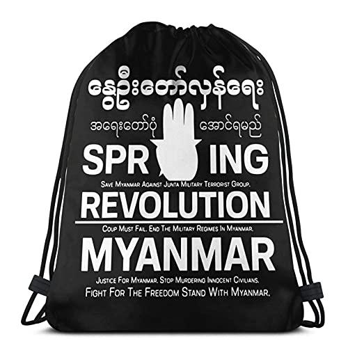 Myanmar Revolution Women'S Mens Unisex Drawstring Bags Gym Bag Light Cinch Bag