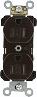 Leviton TBR15 15 Amp, 125 Volt, Narrow Body Duplex Receptacle, Straight Blade, Tamper Resistant, Commercial Grade, Self Grounding, Brown