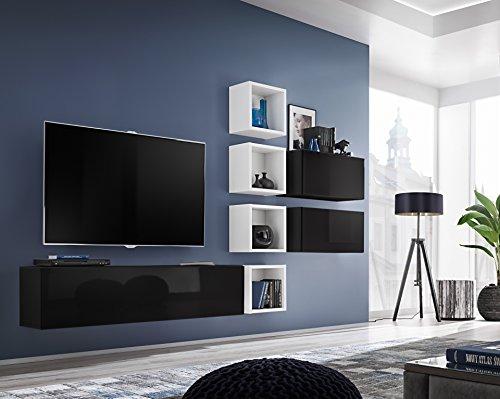 Talara - Parete Attrezzata Soggiorno Mobile TV con Vani E Pensili in Legno Base Televisione Salotto Sala da Pranzo Design Moderno 280 x 175 x 32 cm Colore Nero Lucido Laccato e Bianco