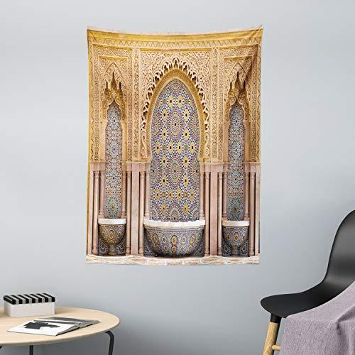 ABAKUHAUS Marokkanisch Wandteppich & Tagesdecke, Rabat Hassan Tower, aus Weiches Mikrofaser Stoff Wand Dekoration Für Schlafzimmer, 110 x 150 cm, Apricot Blassbraun