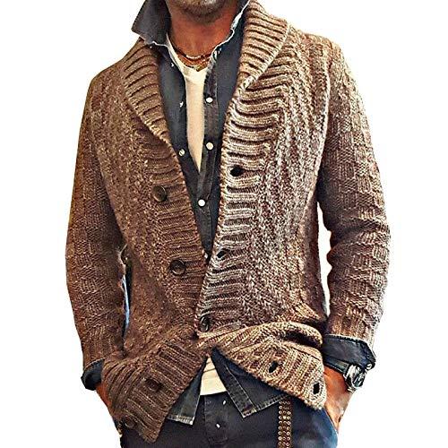 Chaqueta de Punto de Gran tamaño con Solapa para Hombre Slim Fit Clásico de un Solo Pecho Moda Sencillez Casual Abrigo de suéter básico 3XL