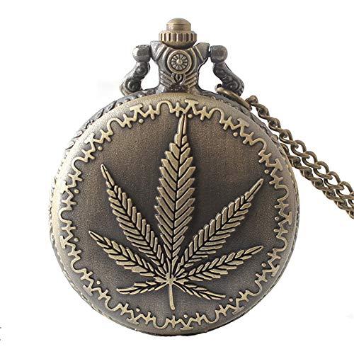 Aruie Taschenuhr, Cannabis-Blatt, Blumenmuster, arabische Zahlen, Quarz, Retro, Biker, Bronze, Halskette für Herren und Damen