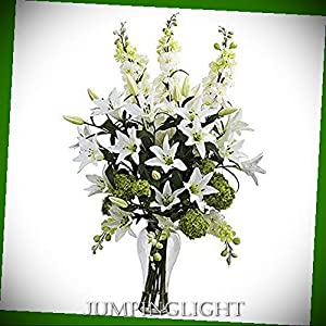 JumpingLight Lily, Delphinium & Hydrangea Silk Arrangement Artificial Flowers Wedding Party Centerpieces Arrangements Bouquets Supplies