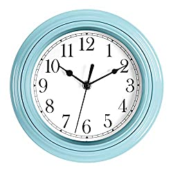 Foxtop Silent Non-Ticking Small Wall Clock Quartz Decorative Battery Operated Teal Blue Wall Clock Easy to Read for Kitchen Classroom Nursery Room Decoration 9 inch
