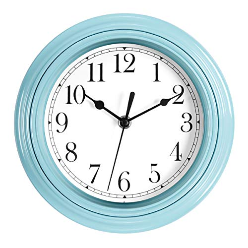 Foxtop Silent Non-Ticking Quartz Decorative Battery Operated Small Blue Wall Clock Easy to Read for Kitchen Classroom Nursery Room Decoration 9 inch