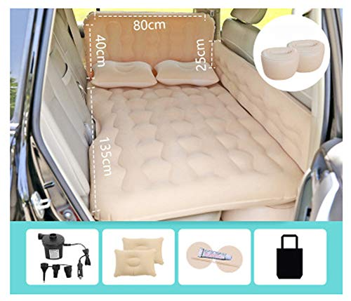 Inflatable Car Air Mattress with Pump Travel(Portable), Camping, Vacation Back Seat Trunk Blow-Up Sleeping Pad Truck, SUV, Minivan-Beige