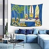 Minions Tapisserie Mandala Wandbehang, indische Baumwolle Strand Überwurf Decke, Hippie Tapisserie Boho Dekor, Twin Tagesdecke Yoga Meditation Matte Teppiche 101,6 x 152,4 cm