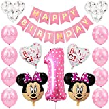 NALCY Palloncini Party Minnie, Decorazioni Palloncino Compleanno Palloncino Compleanno Numero 1 Topolino e Minnie Forniture per Feste Minnie Festa Compleanno Kit per Bambino Compleanno, Rosa