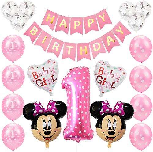 Mickey Globos, Decoraciones de Cumpleaños de Mickey Mouse, 1er Cumpleaños Bebe Globos Decoraciones de Fiesta Temática Mickey Globos de Confeti de Latex Boy Ballon Party (Rosado)