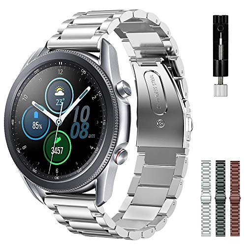 Intoval Band for Samsung Galaxy Watch 3 45mm / Watch 46mm / Gear S3 Frontier / Gear S3 Classic, Premium Stainless Steel Bands with Link Adjustment Tool (22mm Strap, Silver)