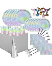 102 Pieces Mermaid Party Supplies Pack Disposable Tableware Serves 12 Birthday Party Decoration Set Value Pack Napkins Plates CupsTable Cloth Banners Ramadan Eid