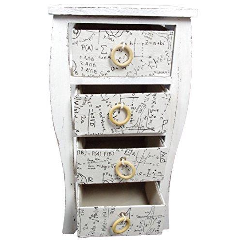 Preisvergleich Produktbild Holzregal Badregal Kommode Regal Schubladen Holzschrank Vintage Design,  Farbe:weiß