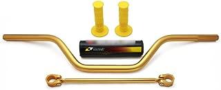"""JFG RACING 7/8"""" 22mm Gold Universal Motorcycle Mid Handlebars Handle Bar Tubes Handlebar Cross Bar with Pad Grips Set for Suzuki RM85 RM125 RM250 RMZ250 RMZ450"""