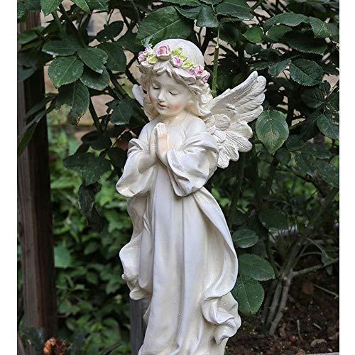 Ybzx Scultura di Angelo da Giardino, Statua di Decorazione da Giardino Resina Decorazione di angioletto Scultura di Bambina Decorazione di Giardinaggio, B.