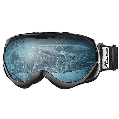 OutdoorMaster Kids Ski Goggles - Helmet Compatible Snow Goggles for Boys & Girls with 100% UV Protection (Black Frame + VLT 60% Light Blue Lens)
