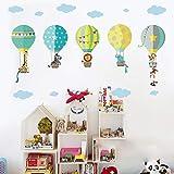 2 Piezas Globos Aerostáticos De Animales Vinilo Pegatinas De Pared Caricatura Decorativas Adhesiva Pared Para Niños Y Bebés Dormitorio Salón Guardería