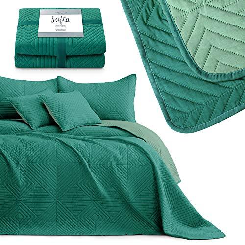 AmeliaHome Colcha de cama, color verde claro y verde oscuro, 170 x 270 cm, reversible, ultrasónico, pespunte de poliéster Softa