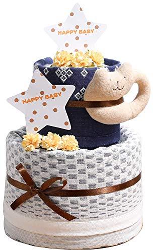 今治タオル imabari towel 名入れ刺繍 出産祝い 日本製 オーガニック 2段 バスタオル おむつケーキ おすみつき (パンパースパンツタイプSサイズ)