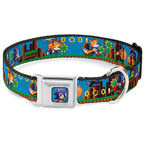 Buckle Down Hebilla para cinturón de Seguridad con Hebilla para Perro – Sonic & Tails/2-Enemies/Anillos Pixelated Game Play Scene Azul/marrón/Verde, Multicolor, 1' Wide - Fits...