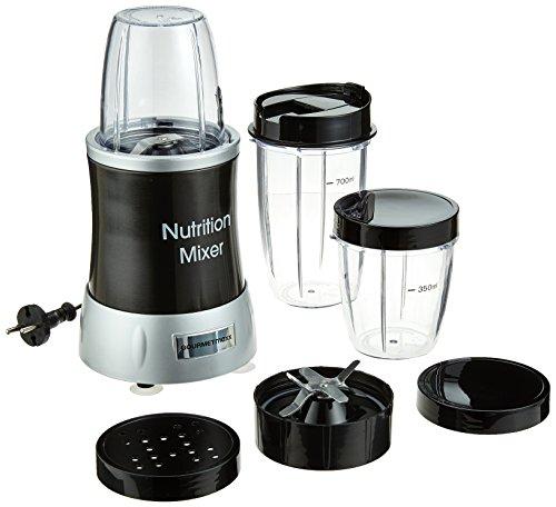 GOURMETmaxx Smoothie Maker Nutrition Mixer | Batidora con 7 funciones, Smoothie Mixer con recipiente portátil | 1000 vatios, 22.000 U/min [plateada]