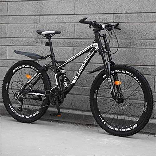 Tochange VTT Vélo, 26 Pouces Haute en Acier au Carbone Hors Route vélo, vélos Tout Suspendus, Double Frein à Disque Femmes Hommes Doux Tail Mountain Bike,Black 27 Speed