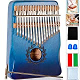 HYMNOUN 17 Keys Kalimba Thumb Piano, Portable Mbira Finger Piano with Piano Lacquer Finishing Musical Instrument Gift for Kids and Adults Beginners (Olive branch, Blue gradient)