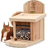 wildtier herz | Eichhörnchen Futterhaus aus verschraubtem Massiv-Holz, wetterfest, Futterstation...