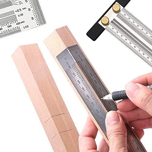 Mintiml Ultra Präzisions-Markierungs-Lineal, rechtwinklig/T-förmig, Edelstahl, zum Basteln, Holzarbeiten, Markierstrich