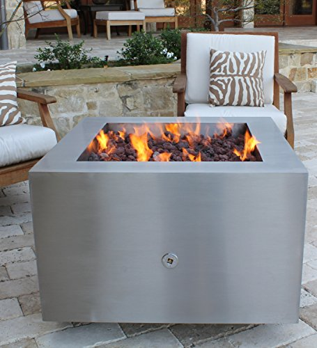 "Find Discount Bentintoshape 35"" Stainless Steel Fire Pit - Glass Media Configuration - Natural Gas..."