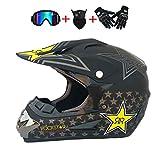 Braceletlxy Guanti da Motocross per Casco, Casco da Fuoristrada Leggero ATV Unisex-Adulto, caschi integrali da MTB, Certificato D.O.T Rockstar (XL,Dumb Black)