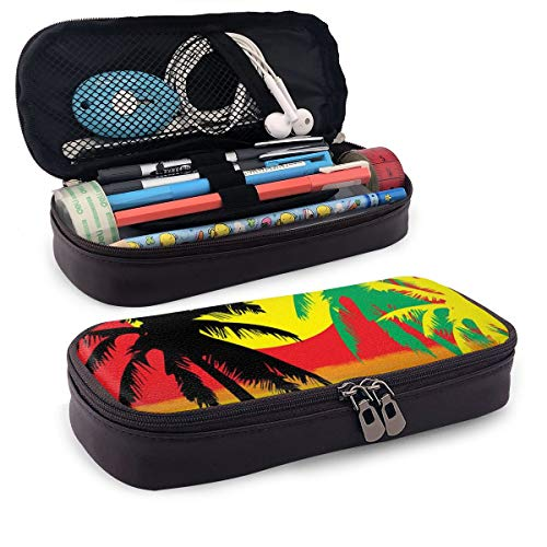 Keshontae Rasta Palm Tree Leather Pouch Storage Pouch Purse Organizer Makeup Bag
