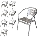 Wohaga® 8 Stück Bistrostuhl mit Armlehnen, Aluminium Silber, Stapelstuhl Gartenstuhl Balkonstuhl Terrassenstuhl Armlehnstuhl